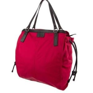 NWT Burberry Small Buckleigh Red Nylon Tote